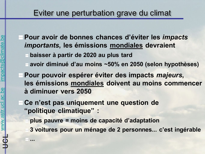 www.astr.ucl.ac.be impacts@climate.be UCL Eviter une perturbation grave du climat Pour avoir de bonnes chances déviter les impacts importants, les émi