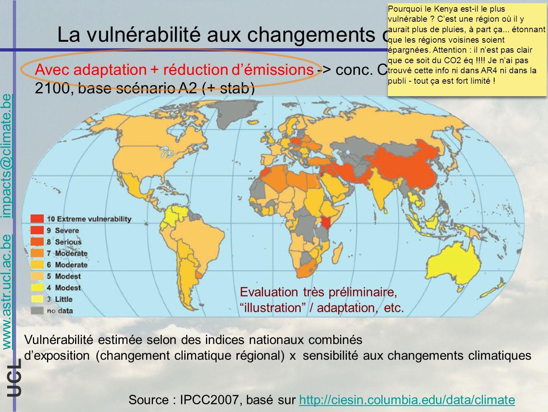 www.astr.ucl.ac.be impacts@climate.be UCL La vulnérabilité aux changements climatiques Avec adaptation + réduction démissions -> conc. CO 2 éq stab à