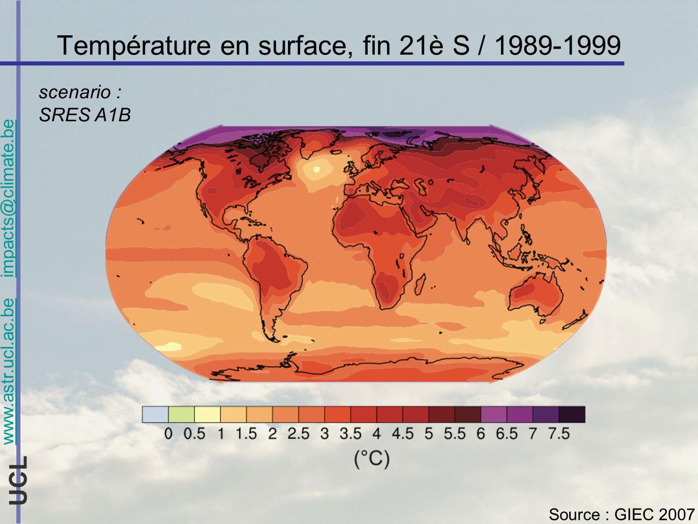 www.astr.ucl.ac.be impacts@climate.be UCL La vulnérabilité aux changements climatiques Avec adaptation 2100, scénario A2 (= sans mesures de réductions démissions) Vulnérabilité estimée selon des indices nationaux combinés dexposition (changement climatique régional) x sensibilité aux changements climatiques Source : IPCC2007, basé sur http://ciesin.columbia.edu/data/climatehttp://ciesin.columbia.edu/data/climate Evaluation très préliminaire, illustration / adaptation, etc.