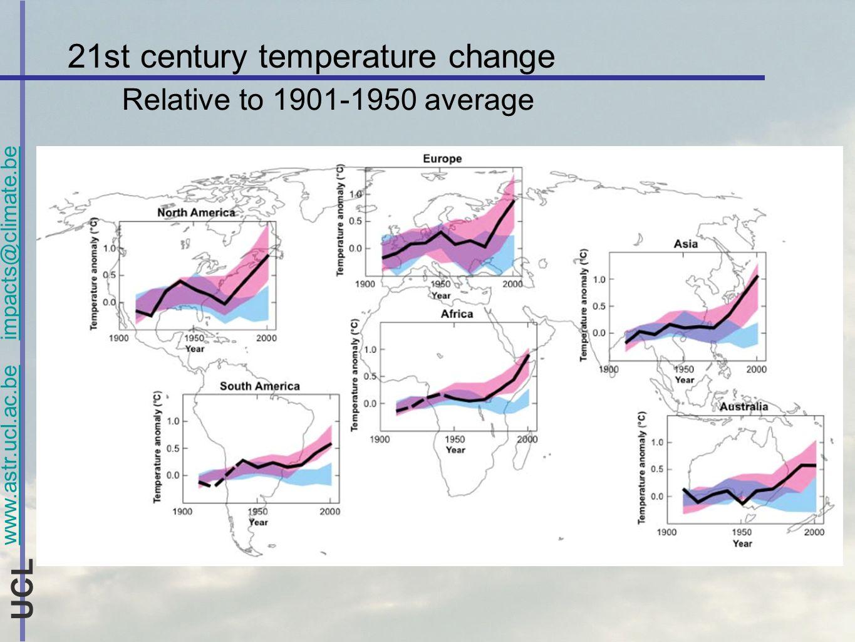 www.astr.ucl.ac.be impacts@climate.be UCL La vulnérabilité aux changements climatiques Avec adaptation + réduction démissions -> conc.