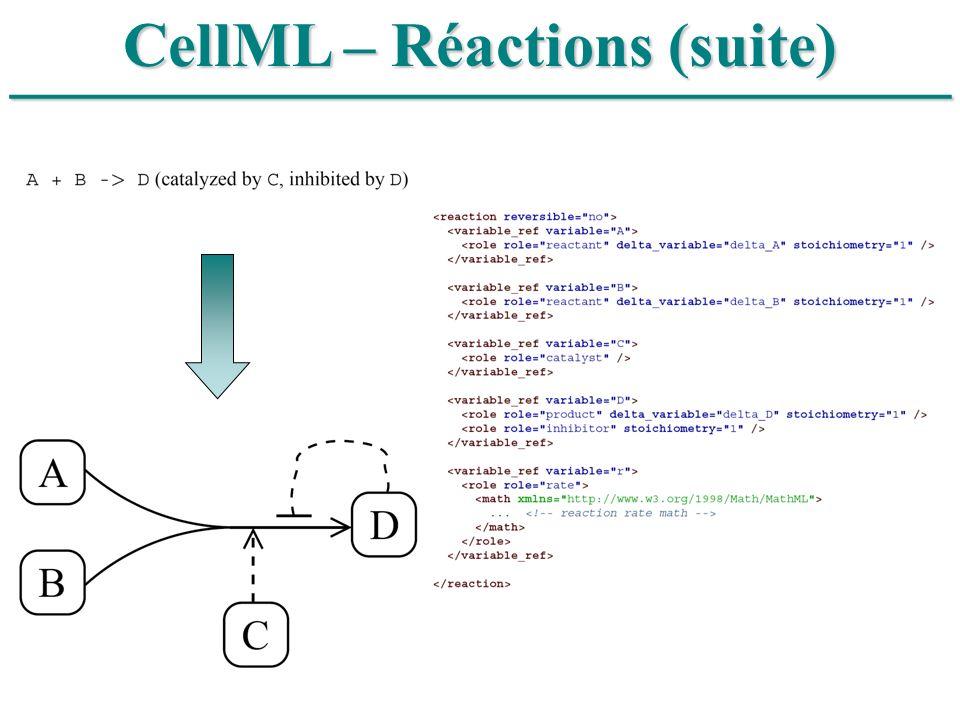 ______________________________ CellML – Réactions (suite)