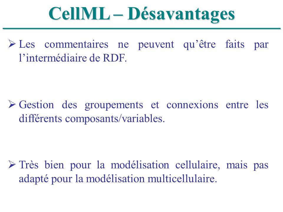 ______________________________ CellML – Désavantages Les commentaires ne peuvent quêtre faits par lintermédiaire de RDF. Gestion des groupements et co