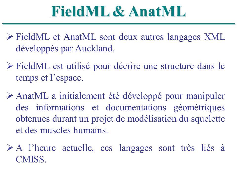 ______________________________ FieldML & AnatML FieldML et AnatML sont deux autres langages XML développés par Auckland. FieldML est utilisé pour décr