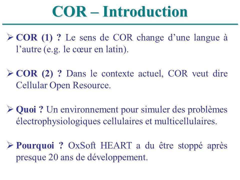 ______________________________ COR – Introduction COR (1) ? Le sens de COR change dune langue à lautre (e.g. le cœur en latin). COR (2) ? Dans le cont
