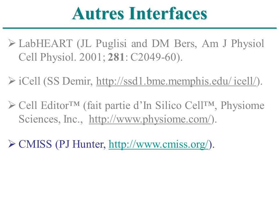 ______________________________ Autres Interfaces CMISS (PJ Hunter, http://www.cmiss.org/).http://www.cmiss.org/ LabHEART (JL Puglisi and DM Bers, Am J