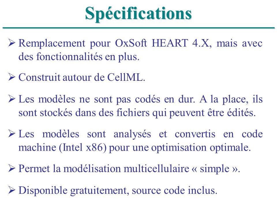______________________________Spécifications Remplacement pour OxSoft HEART 4.X, mais avec des fonctionnalités en plus. Construit autour de CellML. Le