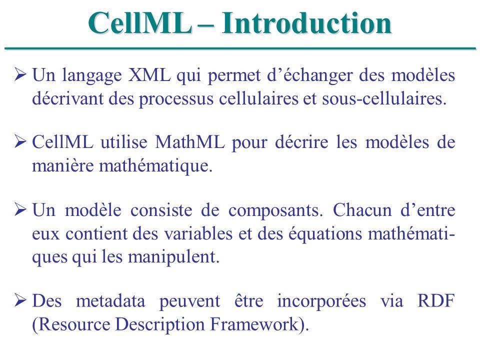 ______________________________ CellML – Introduction Un langage XML qui permet déchanger des modèles décrivant des processus cellulaires et sous-cellu