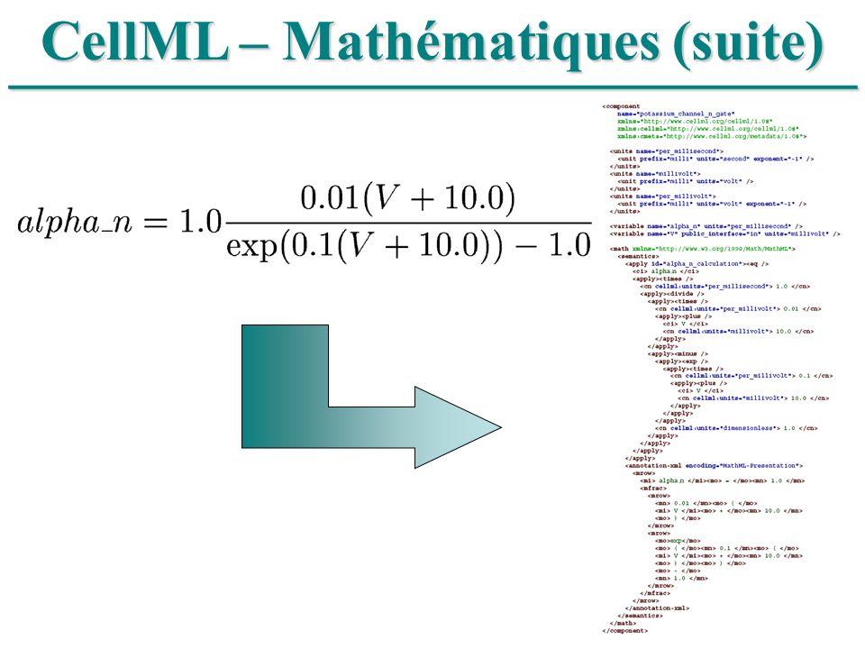 ______________________________ CellML – Mathématiques (suite)