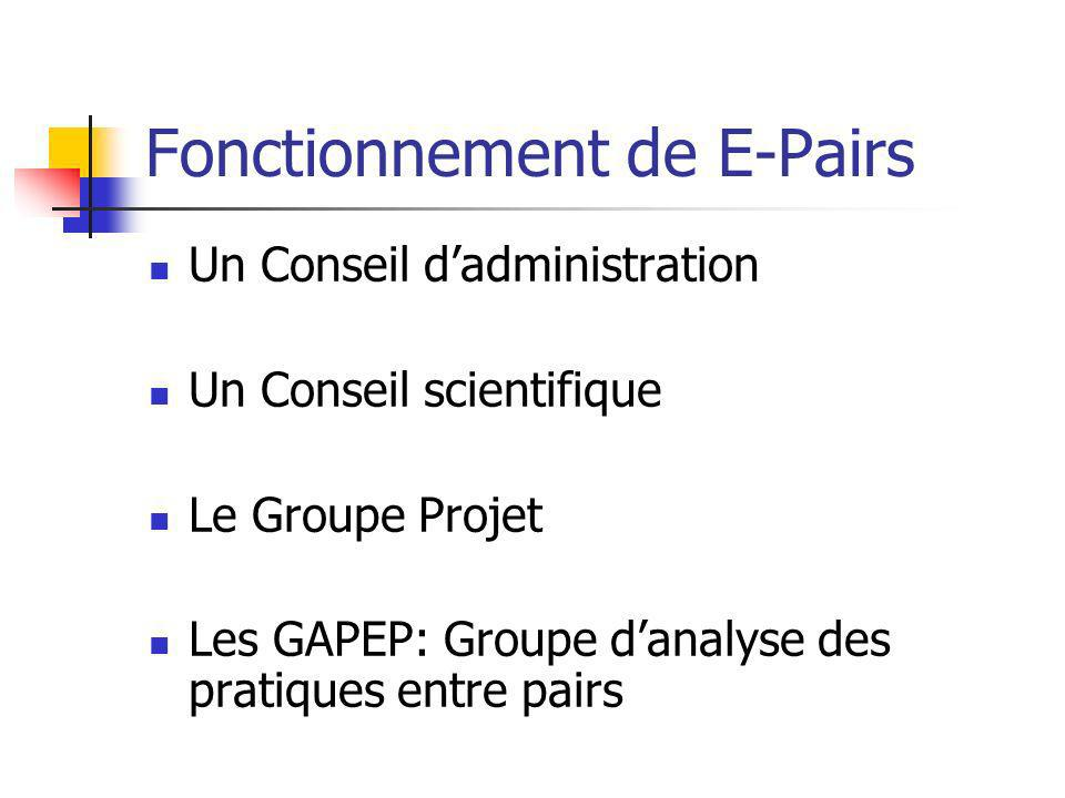 Fonctionnement de E-Pairs Un Conseil dadministration Un Conseil scientifique Le Groupe Projet Les GAPEP: Groupe danalyse des pratiques entre pairs