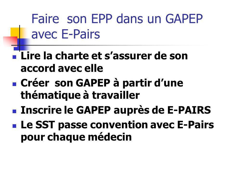 Faire son EPP dans un GAPEP avec E-Pairs Lire la charte et sassurer de son accord avec elle Créer son GAPEP à partir dune thématique à travailler Insc