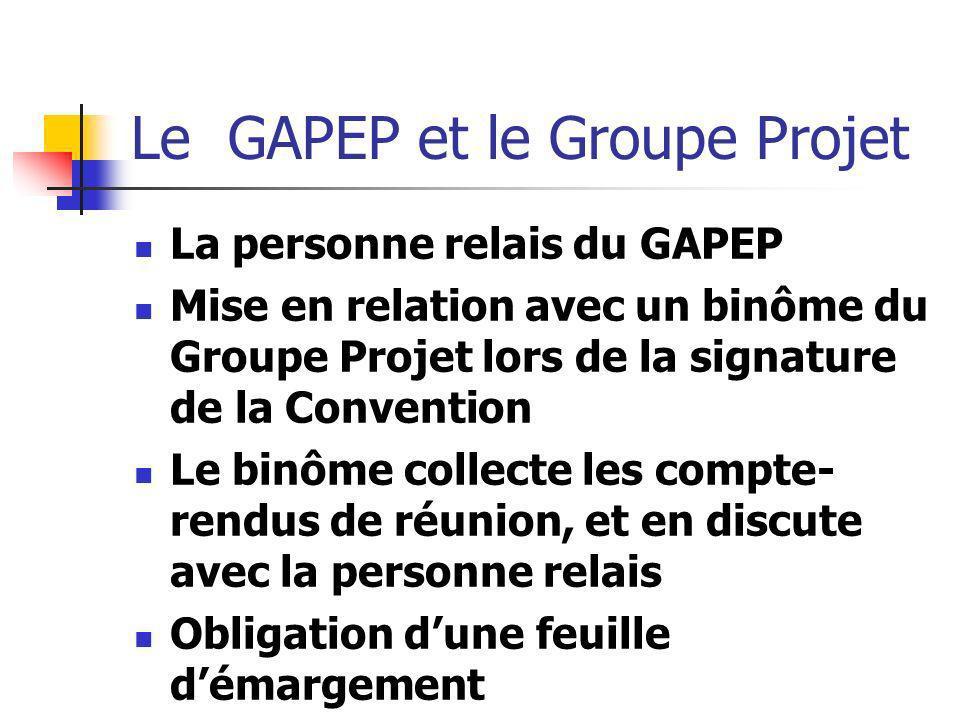 Le GAPEP et le Groupe Projet La personne relais du GAPEP Mise en relation avec un binôme du Groupe Projet lors de la signature de la Convention Le bin