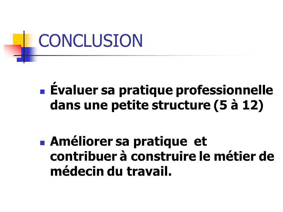 CONCLUSION Évaluer sa pratique professionnelle dans une petite structure (5 à 12) Améliorer sa pratique et contribuer à construire le métier de médeci