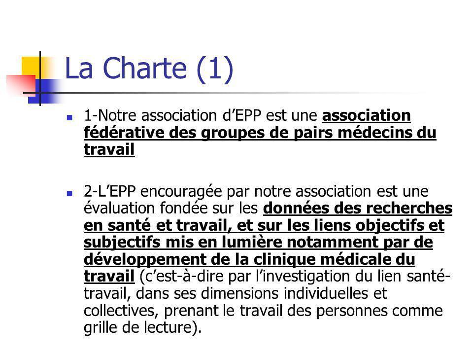 La Charte (1) 1-Notre association dEPP est une association fédérative des groupes de pairs médecins du travail 2-LEPP encouragée par notre association
