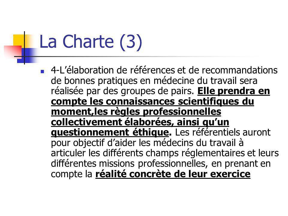 La Charte (4) Les recommandations sappuieront en outre sur les principes partagés suivants: -La mission fondamentale de toute pratique en médecine du travail est de préserver la santé au travail.