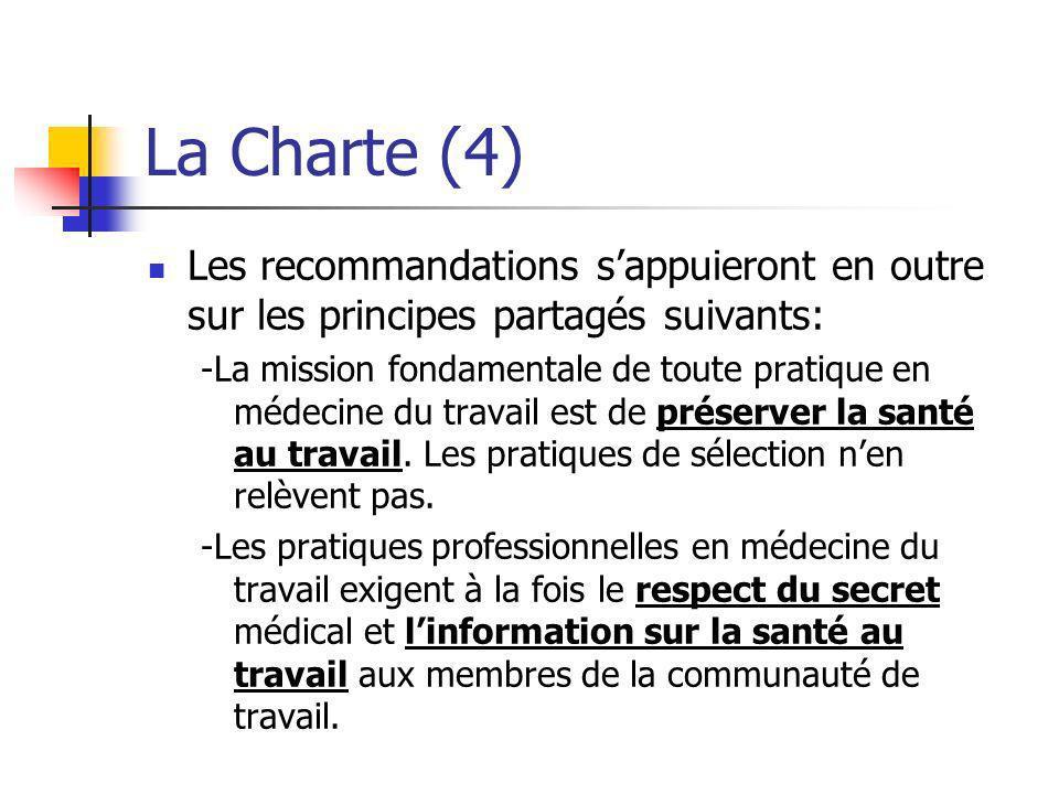 La Charte (4) Les recommandations sappuieront en outre sur les principes partagés suivants: -La mission fondamentale de toute pratique en médecine du