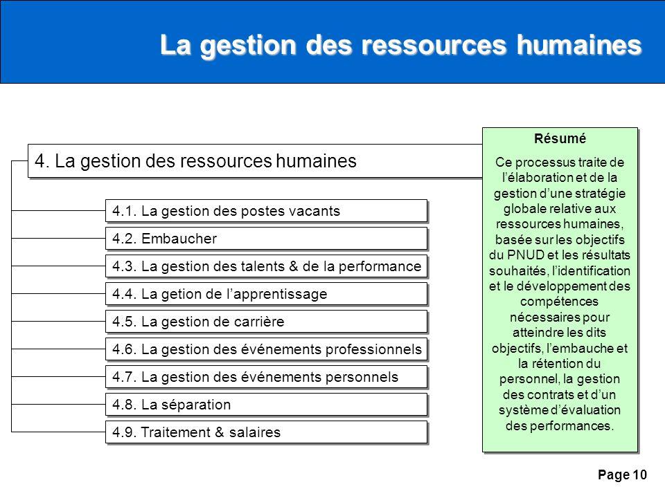 Page 10 4. La gestion des ressources humaines 4.1.