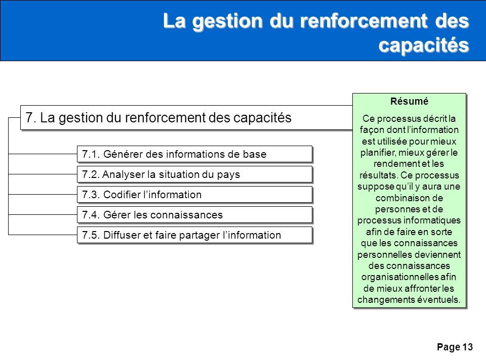 Page 13 7. La gestion du renforcement des capacités 7.1.