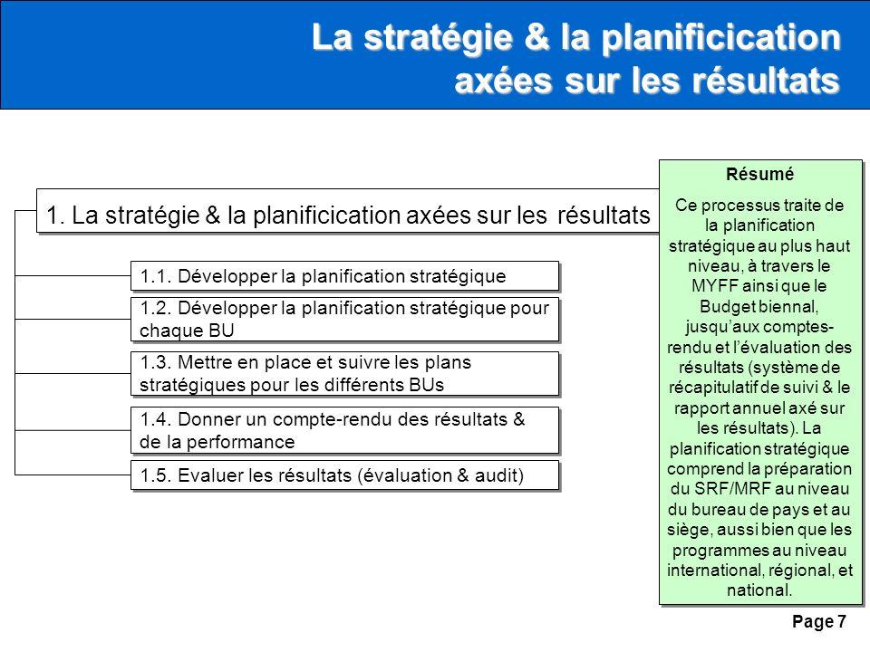 Page 7 1. La stratégie & la planificication axées sur les résultats 1.1.
