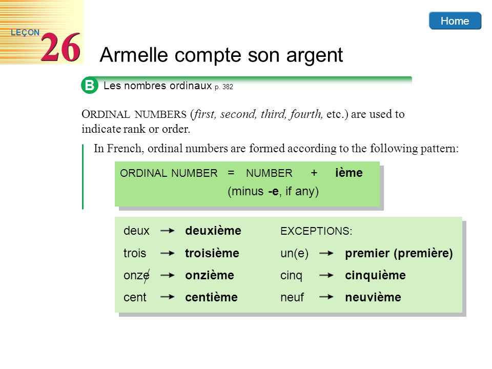 Home Armelle compte son argent 26 LEÇON B O RDINAL NUMBERS (first, second, third, fourth, etc.) are used to indicate rank or order. Les nombres ordina