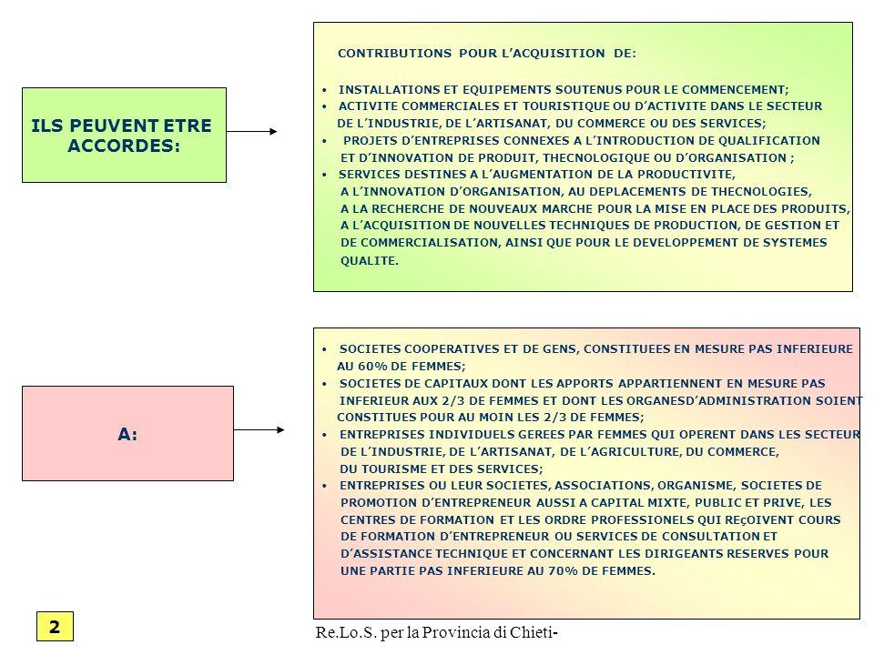 ANGELO RADICA-Referente Re.Lo.S. per la Provincia di Chieti- 18 ILS PEUVENT ETRE ACCORDES: A: CONTRIBUTIONS POUR LACQUISITION DE: INSTALLATIONS ET EQU