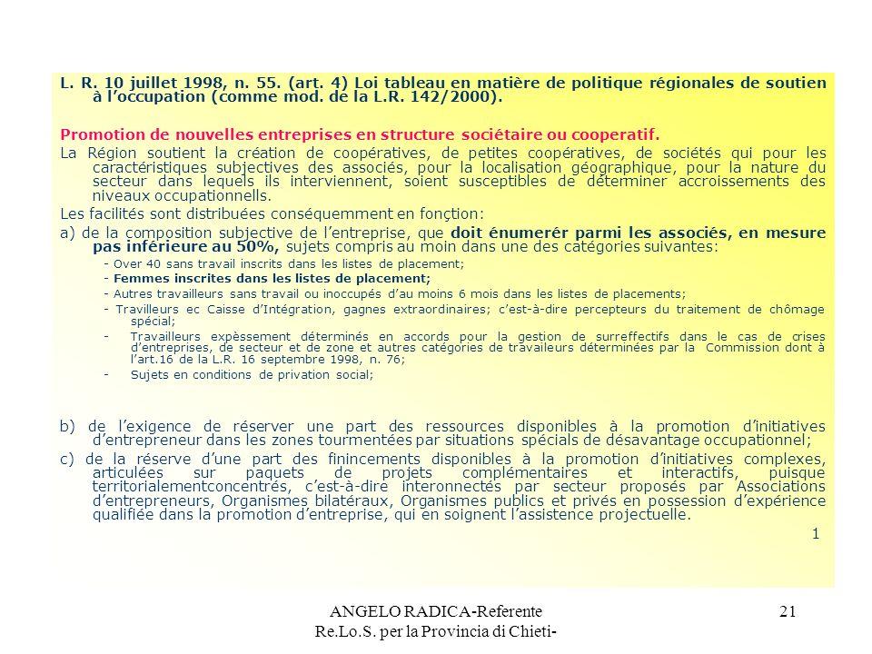 ANGELO RADICA-Referente Re.Lo.S. per la Provincia di Chieti- 21 L. R. 10 juillet 1998, n. 55. (art. 4) Loi tableau en matière de politique régionales