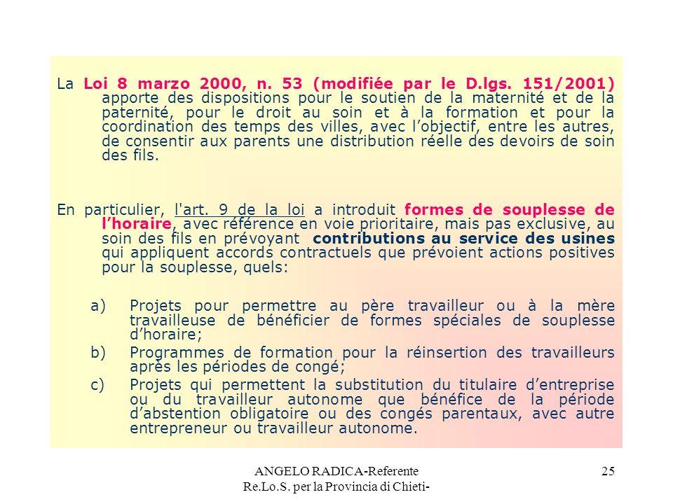 ANGELO RADICA-Referente Re.Lo.S. per la Provincia di Chieti- 25 La Loi 8 marzo 2000, n. 53 (modifiée par le D.lgs. 151/2001) apporte des dispositions