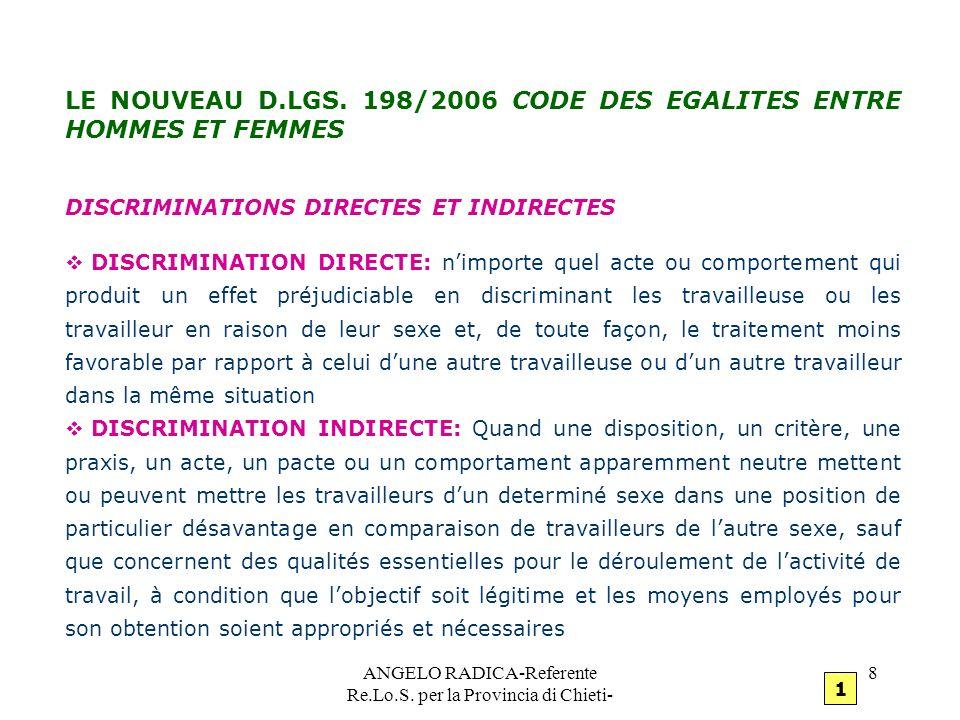ANGELO RADICA-Referente Re.Lo.S. per la Provincia di Chieti- 8 LE NOUVEAU D.LGS. 198/2006 CODE DES EGALITES ENTRE HOMMES ET FEMMES DISCRIMINATIONS DIR