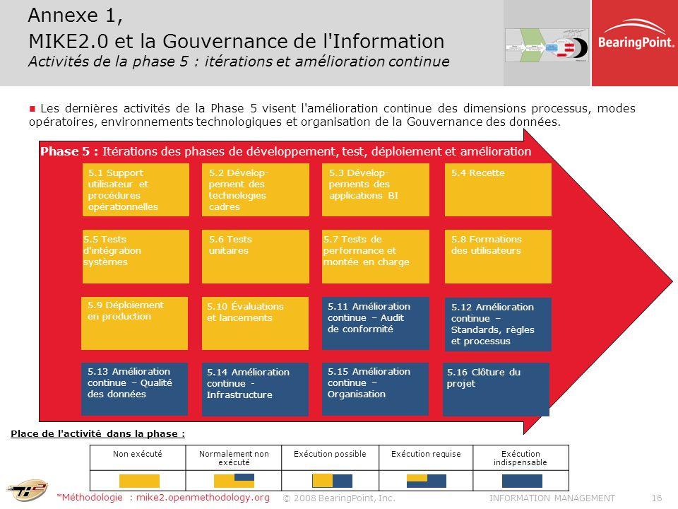 © 2008 BearingPoint, Inc.16INFORMATION MANAGEMENT Les dernières activités de la Phase 5 visent l'amélioration continue des dimensions processus, modes