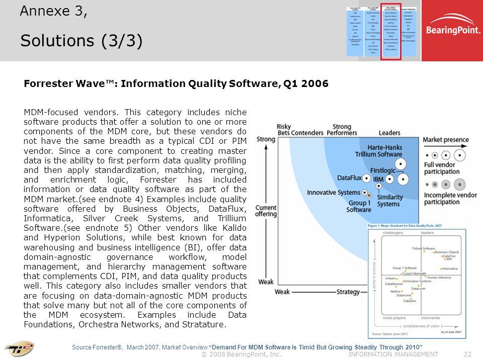 © 2008 BearingPoint, Inc.22INFORMATION MANAGEMENT Solutions (3/3) Forrester Wave: Information Quality Software, Q1 2006 MDM-focused vendors.
