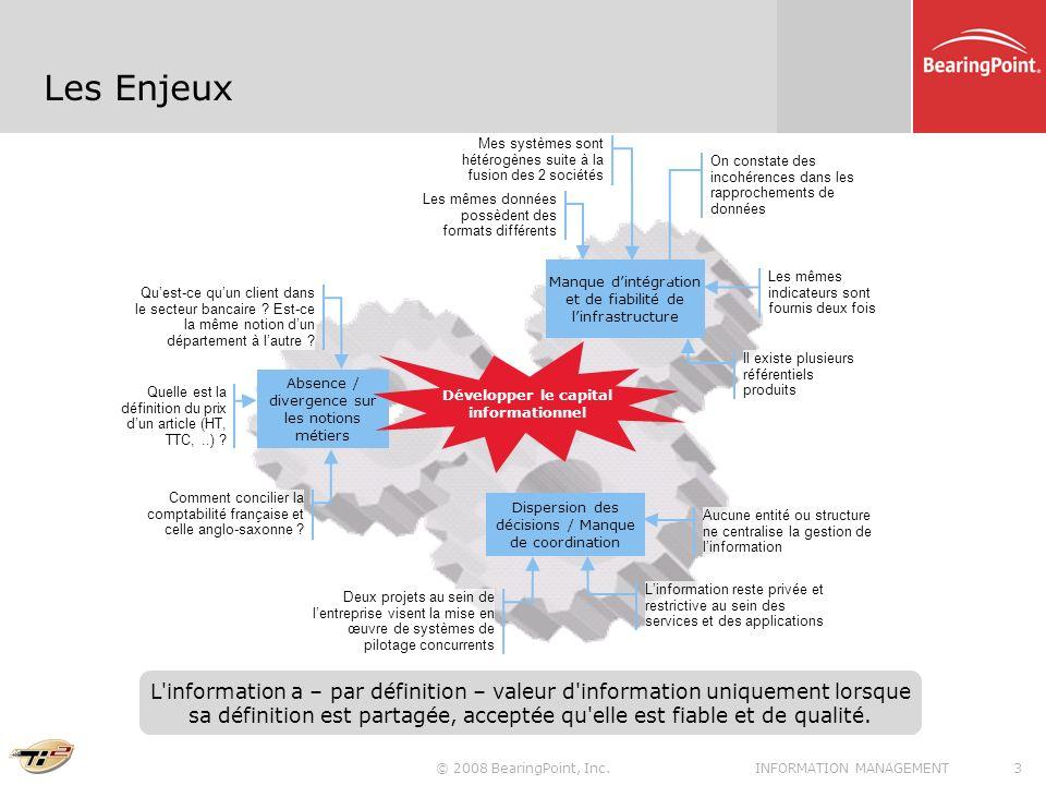 © 2008 BearingPoint, Inc.3INFORMATION MANAGEMENT Les Enjeux Manque dintégration et de fiabilité de linfrastructure Absence / divergence sur les notion