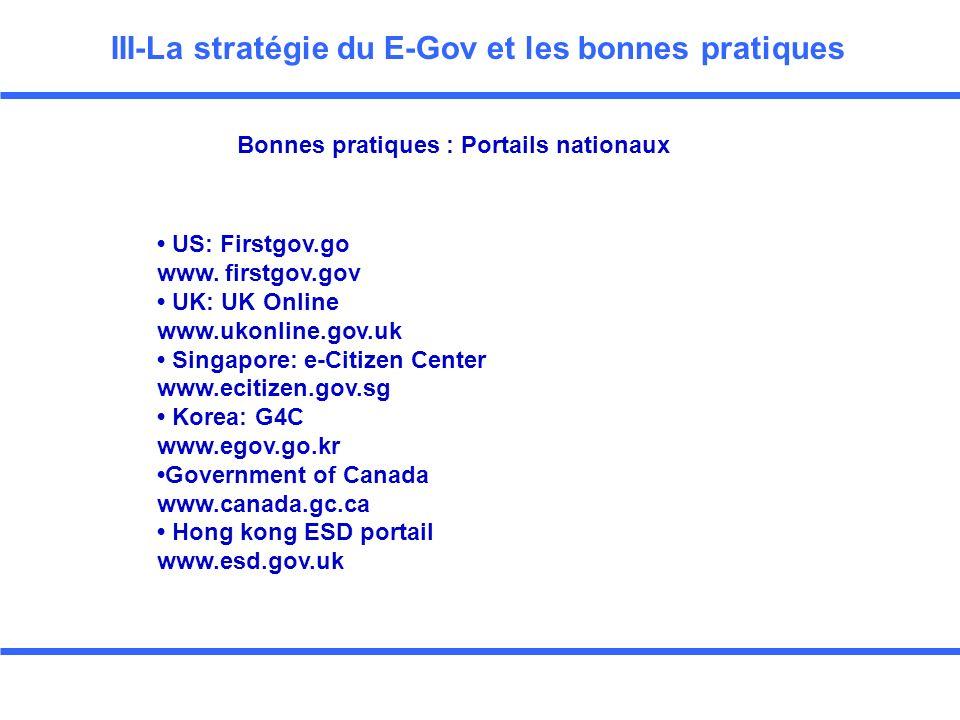 III-La stratégie du E-Gov et les bonnes pratiques US: Firstgov.go www.