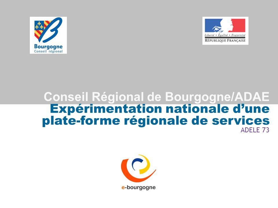 Conseil Régional de Bourgogne/ADAE Expérimentation nationale dune plate-forme régionale de services ADELE 73