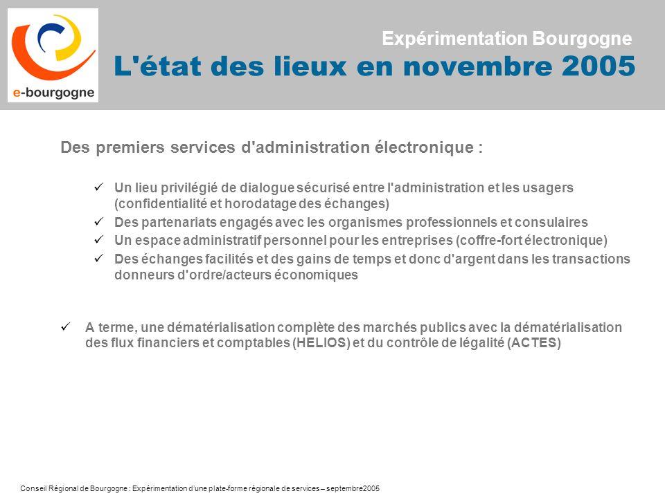 Conseil Régional de Bourgogne : Expérimentation dune plate-forme régionale de services – septembre2005 Des premiers services d'administration électron