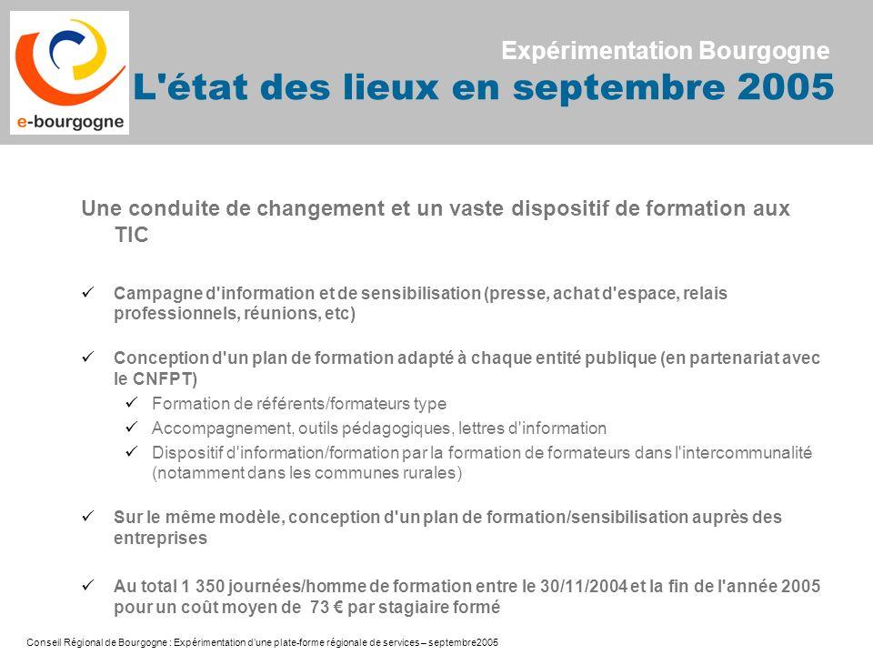 Conseil Régional de Bourgogne : Expérimentation dune plate-forme régionale de services – septembre2005 Une conduite de changement et un vaste disposit