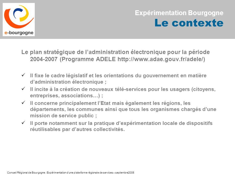 Conseil Régional de Bourgogne : Expérimentation dune plate-forme régionale de services – septembre2005 Le plan stratégique de ladministration électron