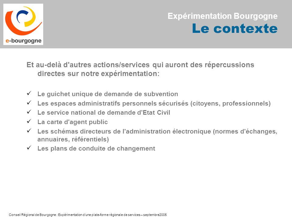 Conseil Régional de Bourgogne : Expérimentation dune plate-forme régionale de services – septembre2005 Et au-delà d'autres actions/services qui auront