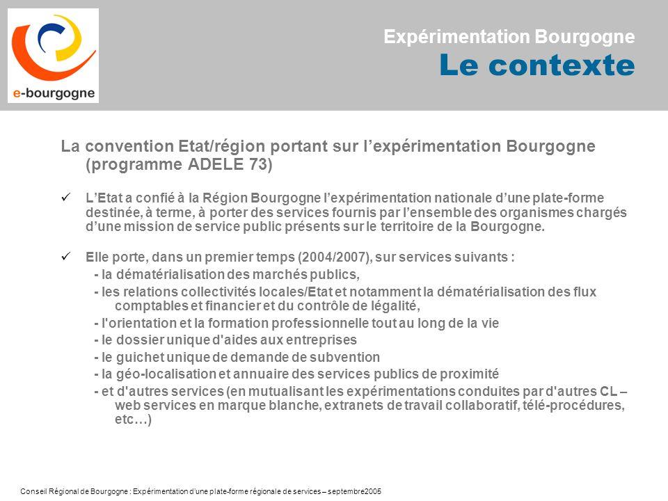Conseil Régional de Bourgogne : Expérimentation dune plate-forme régionale de services – septembre2005 La convention Etat/région portant sur lexpérime