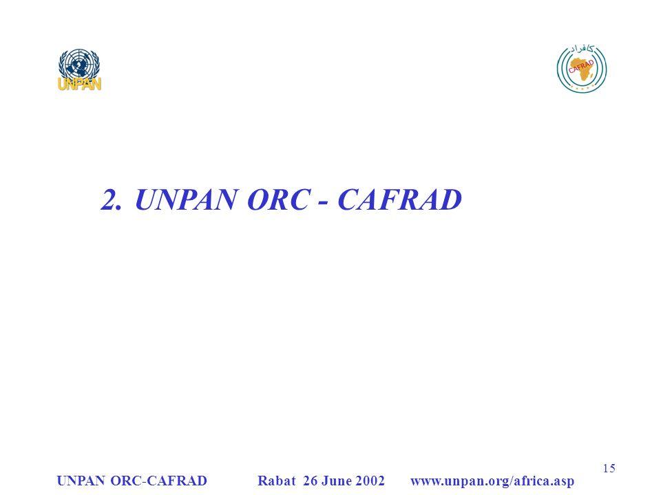 UNPAN ORC-CAFRAD Rabat 26 June 2002 www.unpan.org/africa.asp 15 2.UNPAN ORC - CAFRAD
