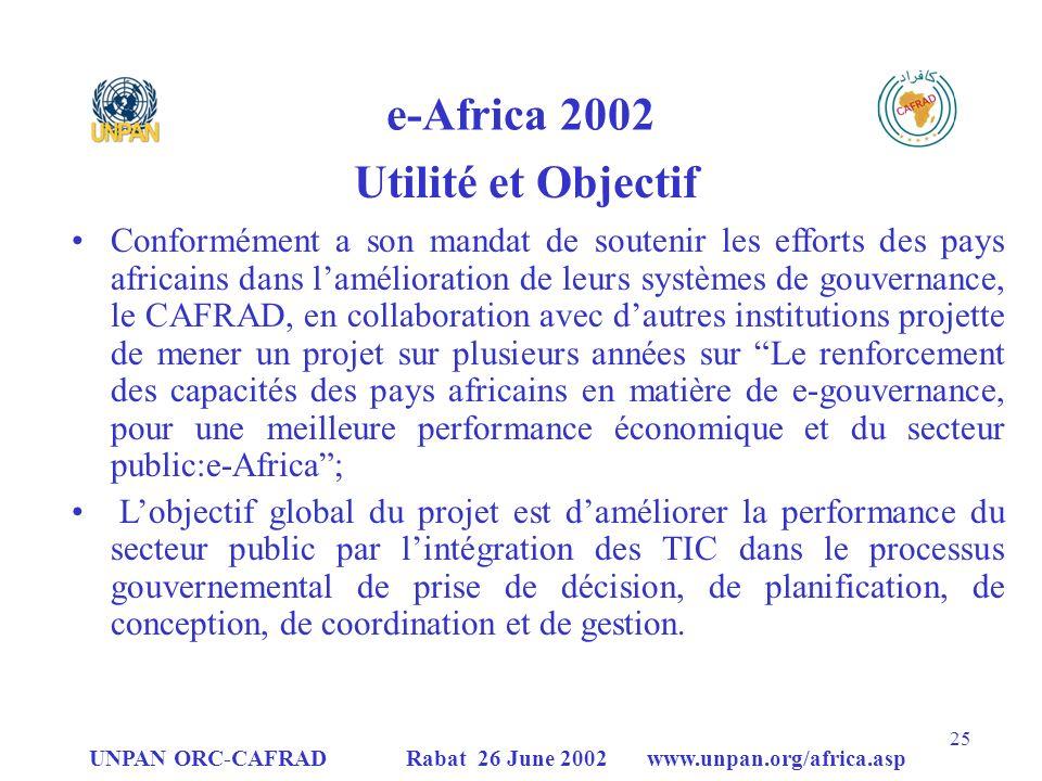UNPAN ORC-CAFRAD Rabat 26 June 2002 www.unpan.org/africa.asp 25 e-Africa 2002 Utilité et Objectif Conformément a son mandat de soutenir les efforts des pays africains dans lamélioration de leurs systèmes de gouvernance, le CAFRAD, en collaboration avec dautres institutions projette de mener un projet sur plusieurs années sur Le renforcement des capacités des pays africains en matière de e-gouvernance, pour une meilleure performance économique et du secteur public:e-Africa; Lobjectif global du projet est daméliorer la performance du secteur public par lintégration des TIC dans le processus gouvernemental de prise de décision, de planification, de conception, de coordination et de gestion.
