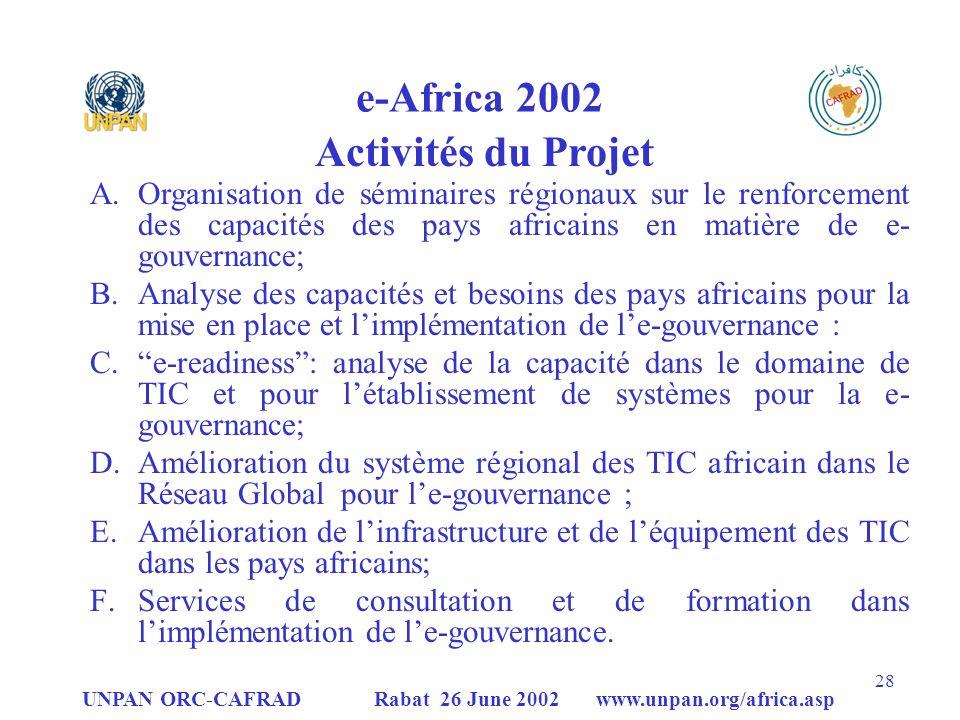 UNPAN ORC-CAFRAD Rabat 26 June 2002 www.unpan.org/africa.asp 28 e-Africa 2002 Activités du Projet A.Organisation de séminaires régionaux sur le renforcement des capacités des pays africains en matière de e- gouvernance; B.Analyse des capacités et besoins des pays africains pour la mise en place et limplémentation de le-gouvernance : C.e-readiness: analyse de la capacité dans le domaine de TIC et pour létablissement de systèmes pour la e- gouvernance; D.Amélioration du système régional des TIC africain dans le Réseau Global pour le-gouvernance ; E.Amélioration de linfrastructure et de léquipement des TIC dans les pays africains; F.Services de consultation et de formation dans limplémentation de le-gouvernance.