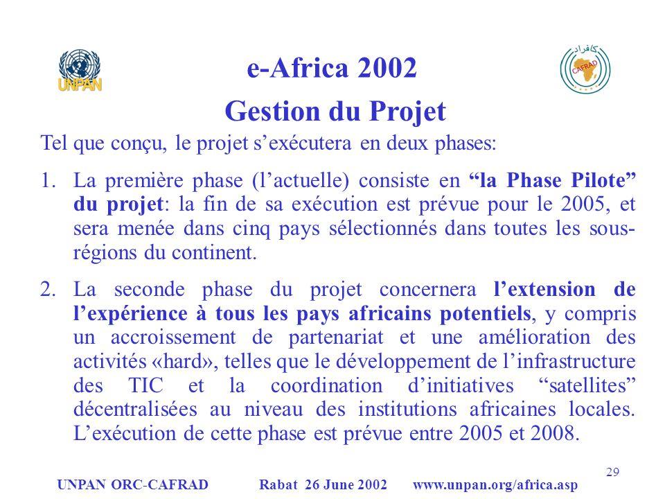 UNPAN ORC-CAFRAD Rabat 26 June 2002 www.unpan.org/africa.asp 29 e-Africa 2002 Gestion du Projet Tel que conçu, le projet sexécutera en deux phases: 1.La première phase (lactuelle) consiste en la Phase Pilote du projet: la fin de sa exécution est prévue pour le 2005, et sera menée dans cinq pays sélectionnés dans toutes les sous- régions du continent.