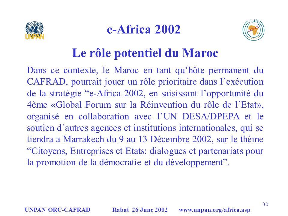 UNPAN ORC-CAFRAD Rabat 26 June 2002 www.unpan.org/africa.asp 30 e-Africa 2002 Dans ce contexte, le Maroc en tant quhôte permanent du CAFRAD, pourrait jouer un rôle prioritaire dans lexécution de la stratégie e-Africa 2002, en saisissant lopportunité du 4ème «Global Forum sur la Réinvention du rôle de lEtat», organisé en collaboration avec lUN DESA/DPEPA et le soutien dautres agences et institutions internationales, qui se tiendra a Marrakech du 9 au 13 Décembre 2002, sur le thème Citoyens, Entreprises et Etats: dialogues et partenariats pour la promotion de la démocratie et du développement.