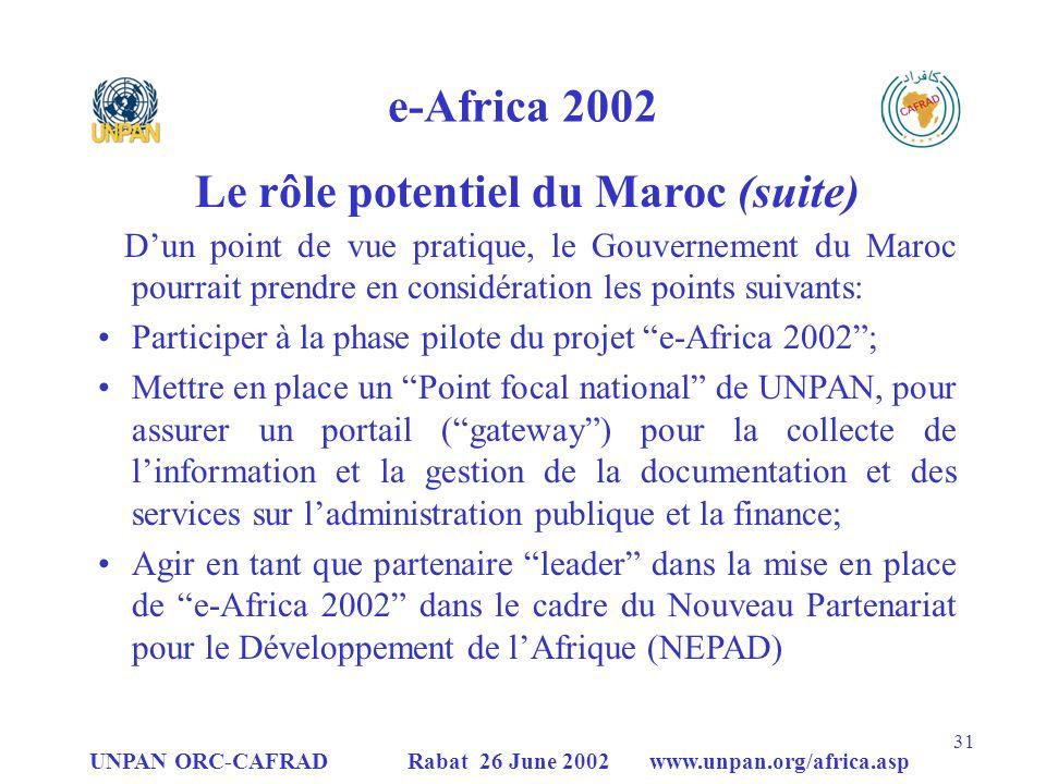 UNPAN ORC-CAFRAD Rabat 26 June 2002 www.unpan.org/africa.asp 31 e-Africa 2002 Dun point de vue pratique, le Gouvernement du Maroc pourrait prendre en considération les points suivants: Participer à la phase pilote du projet e-Africa 2002; Mettre en place un Point focal national de UNPAN, pour assurer un portail (gateway) pour la collecte de linformation et la gestion de la documentation et des services sur ladministration publique et la finance; Agir en tant que partenaire leader dans la mise en place de e-Africa 2002 dans le cadre du Nouveau Partenariat pour le Développement de lAfrique (NEPAD) Le rôle potentiel du Maroc (suite)