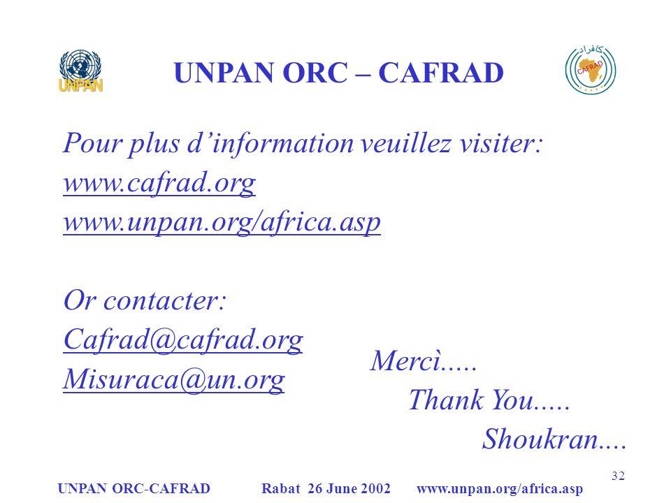 UNPAN ORC-CAFRAD Rabat 26 June 2002 www.unpan.org/africa.asp 32 Mercì.....