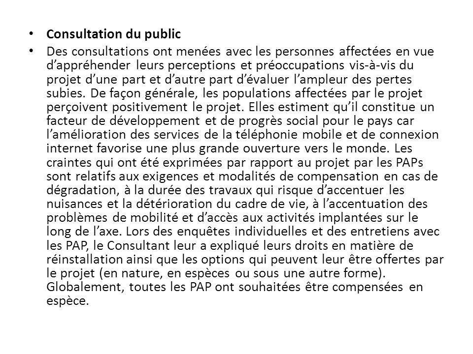 Consultation du public Des consultations ont menées avec les personnes affectées en vue dappréhender leurs perceptions et préoccupations vis-à-vis du