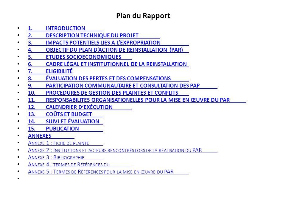 Plan du Rapport 1.INTRODUCTION 1.INTRODUCTION 2.DESCRIPTION TECHNIQUE DU PROJET 2.DESCRIPTION TECHNIQUE DU PROJET 3.IMPACTS POTENTIELS LIES A LEXPROPR