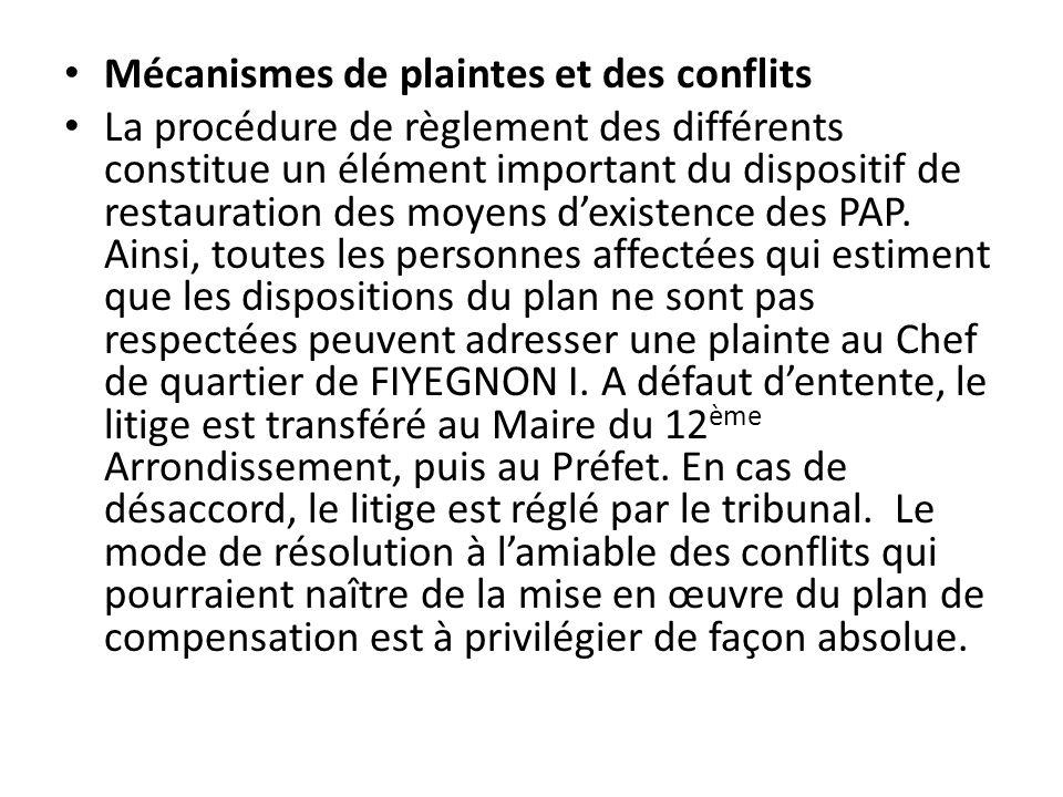 Mécanismes de plaintes et des conflits La procédure de règlement des différents constitue un élément important du dispositif de restauration des moyen