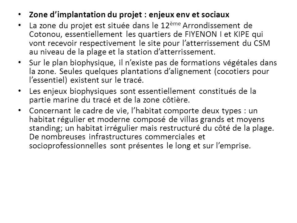 Zone dimplantation du projet : enjeux env et sociaux La zone du projet est située dans le 12 ème Arrondissement de Cotonou, essentiellement les quarti