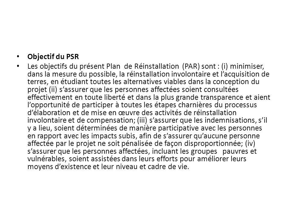 Objectif du PSR Les objectifs du présent Plan de Réinstallation (PAR) sont : (i) minimiser, dans la mesure du possible, la réinstallation involontaire