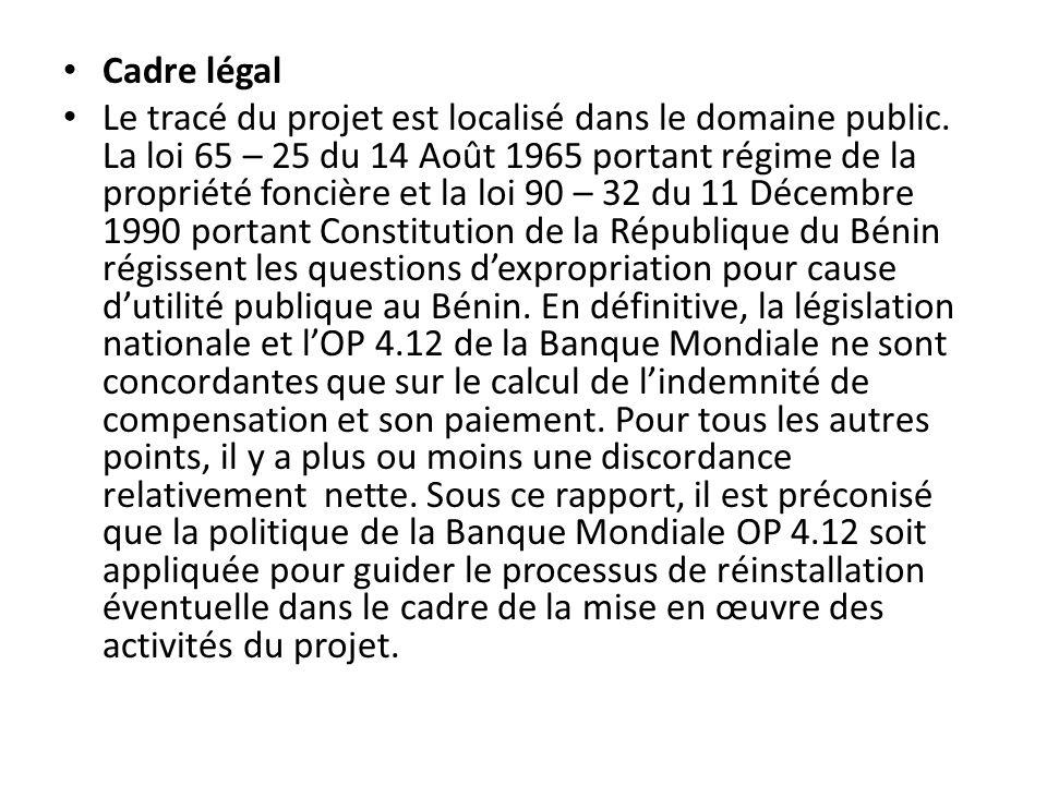 Cadre légal Le tracé du projet est localisé dans le domaine public. La loi 65 – 25 du 14 Août 1965 portant régime de la propriété foncière et la loi 9